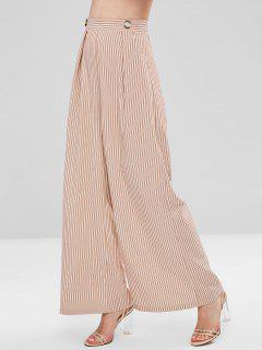 High Waist Stripe Wide Leg Pants - Multi L