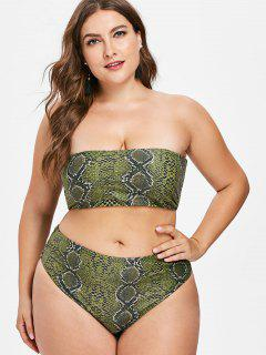 Snakeskin Bandeau Plus Size Bikini Set - Fern Green 3x