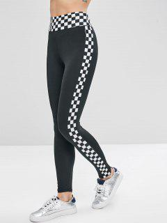 Checkered Ponte Pants - Black S