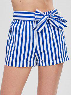 Belted Striped Shorts - Blue Xl
