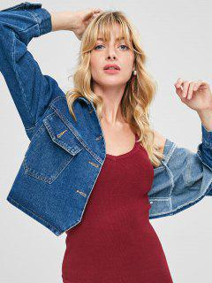 Button Up Loose Denim Jacket - Denim Dark Blue S