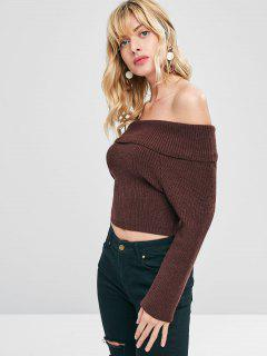 Knit Off The Shoulder Pullover Sweater - Deep Brown M