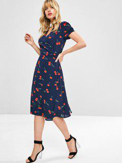 Cherry Print Wrap Midi Dress - Midnight Blue L