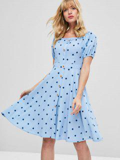 Polka Dot Print Knee Length Dress - Sea Blue L