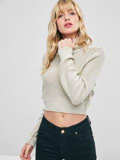 Cropped Turtleneck Sweater Jumper - Warm White M