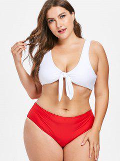Knoten Plus Size Tank Bikini Set - Liebes Rot 2x