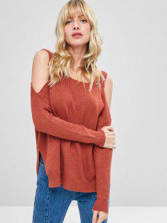 Side Slit Cold Shoulder Sweater - Cherry Red