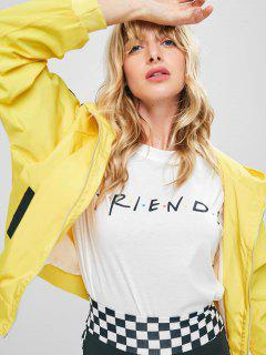 Raglan Sleeves Letter Hooded Jacket - Yellow Xl