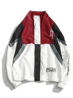 Letter Print Color Block Patchwork Windproof Jacket - Red Xl