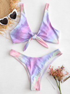 Knotted Tie Dye Bikini Set - Multi L