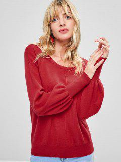 Pull Chandail Manches Laternes à Col Rond - Rouge S