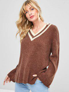 Slit High Low V Neck Sweater - Brown