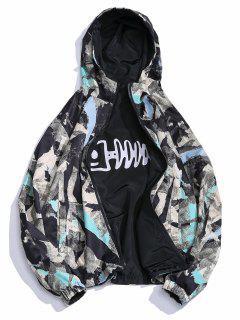 Ink Brushed Fishbone Print Windproof Hoodie Reversible Jacket - Acu Camouflage L