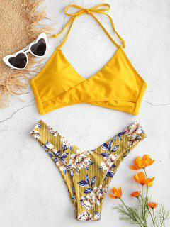 Kontrast-Blumendruck High Cut Bikini Set - Biene Gelb L