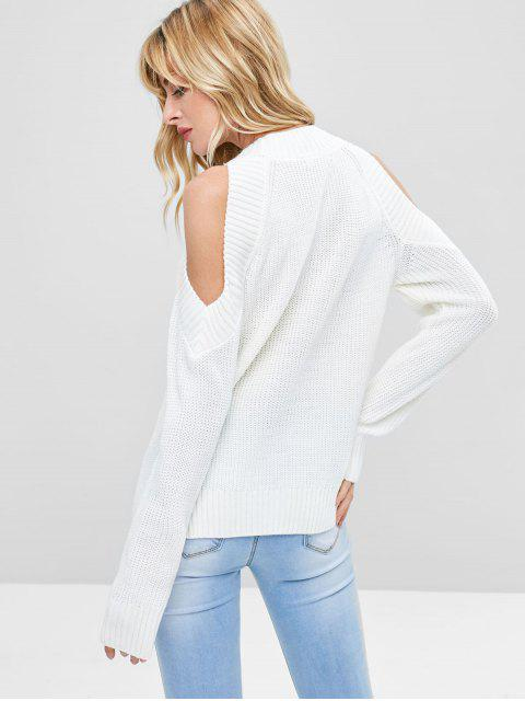 new Pullover Open Shoulder Sweater - WHITE ONE SIZE Mobile