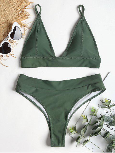 Bikini à Dos Lacé à Jambes Hautes - Vert Foncé de Mer L Mobile