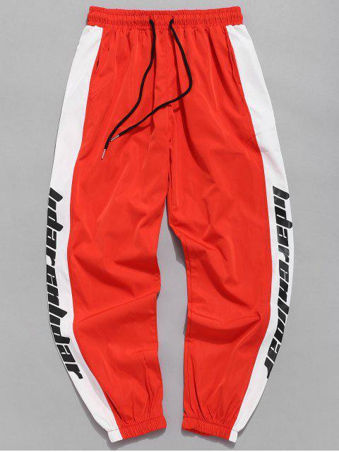 Pantalon de Jogging Imperméable à Lettre Rayure Latérales - Orange vif XS Mobile