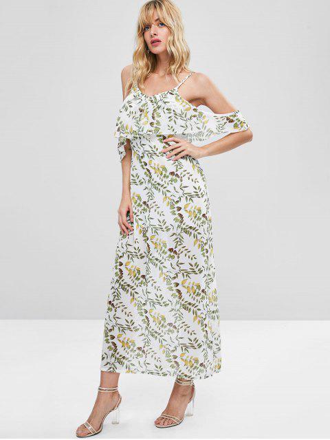 Robe Camisole Feuilles Imprimées Superposée - Blanc XL Mobile