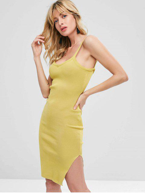 lady Side Slit Sleeveless Knitted Dress - GOLDENROD ONE SIZE Mobile