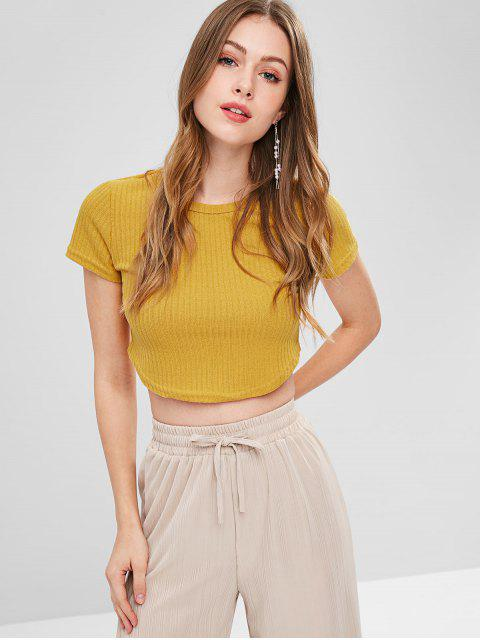 fashion Cropped Ribbed Knit Top - BRIGHT YELLOW S Mobile