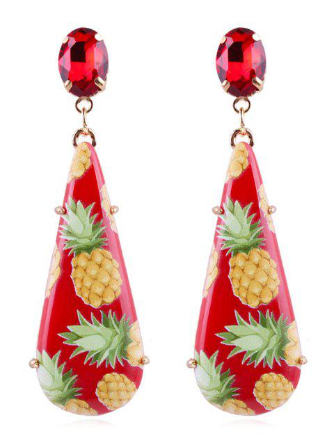 Pendientes colgantes de gota de lágrima de piña - Castaño Rojo  Mobile