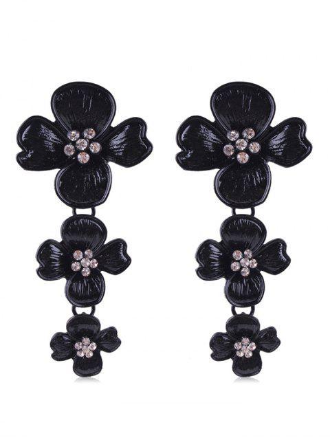 Strass Blumen Design Tropfen Ohrringe - Schwarz  Mobile