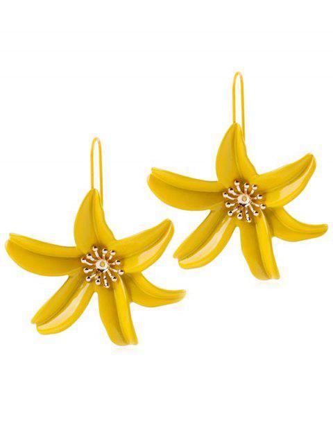 Blumen Design Drop Haken Ohrringe - Gelb  Mobile