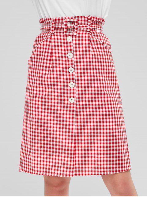 Botones falda con cinturón de gamuza - Rojo M Mobile