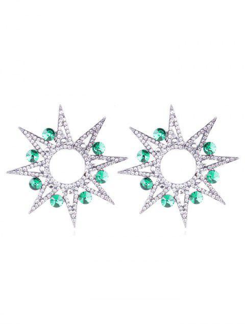 Boucles d'oreilles en forme de tournesol creuses en strass - Vert Clair de Mer  Mobile
