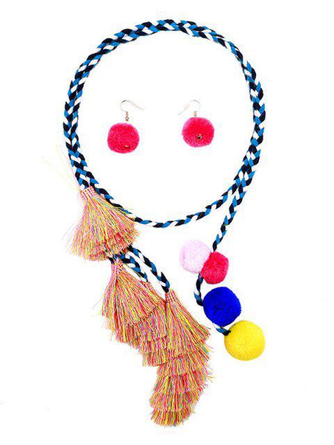 women's Fuzzy Ball Tassel Necklace with Earrings - MULTI  Mobile