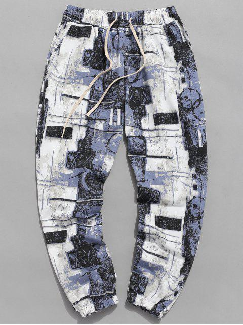 sale Wall Graffiti Print Jogger Pants - GLACIAL BLUE ICE M Mobile
