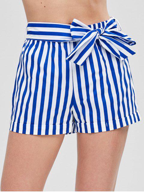 Pantalones cortos a rayas con cinturón - Azul L Mobile