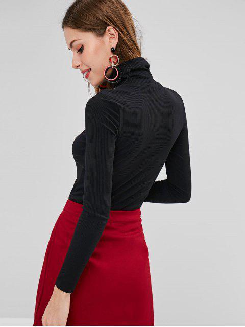 ハイネックリブフィットTシャツ - ブラック L Mobile