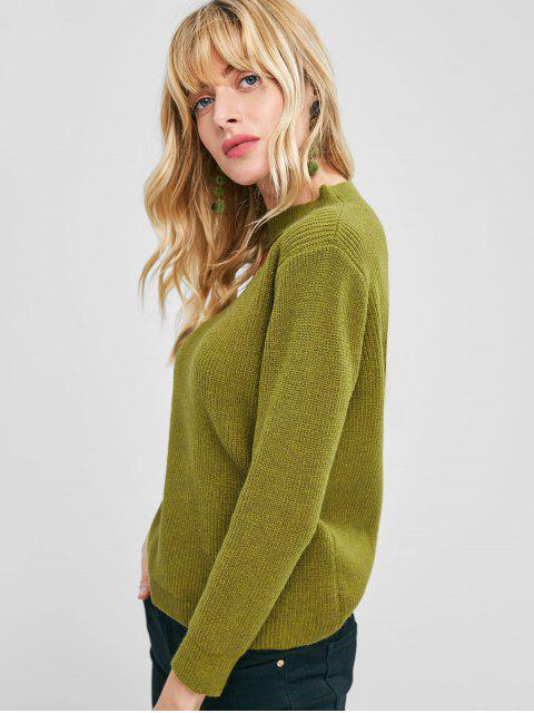 shop Mock Neck Front Cut Out Pullover Sweater - YELLOW GREEN M Mobile
