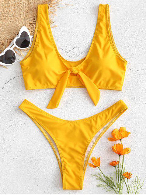 trendy High Cut Knot Plunge Bikini Set - BEE YELLOW M Mobile