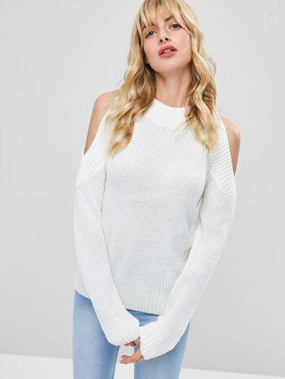 Pullover Open Shoulder Sweater - White 21999fddb