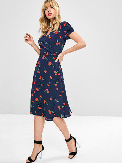 Cherry Print Wrap Midi Dress - Midnight Blue S