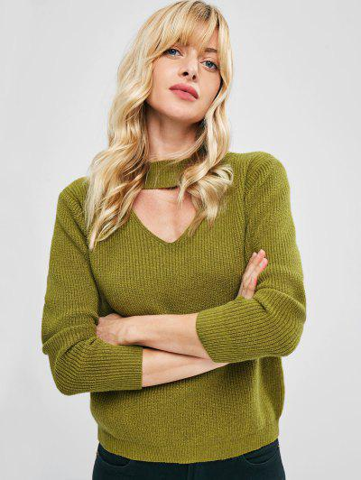 Mock Neck Front Cut Out Pullover Sweater - Yellow Green M