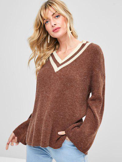 Slit High Low V Neck Sweater - Brown