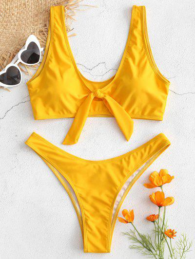 e77ce77955 High Cut Knot Plunge Bikini Set - Bee Yellow M