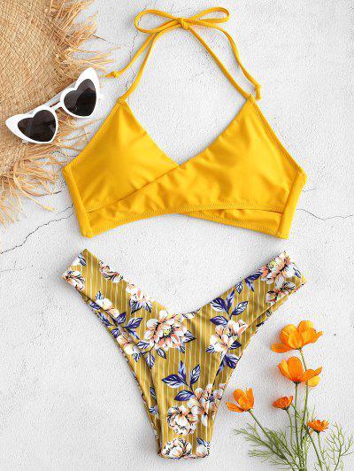 abe0af56670ffd Contrast Flower Print High Cut Bikini Set - Bee Yellow M