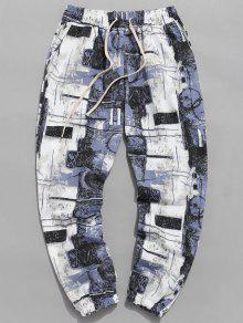 سروال جينز مطبوع للجرافيك - جليدي الجليد الأزرق 2xl