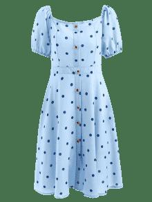 Xl Marino De Vestido Estampado Con A La Lunares Azul Rodilla TnR17BqP