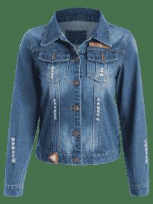 Azul Denim Denim Oscuro M De Patchwork Ripped Jacket tpSH4qf