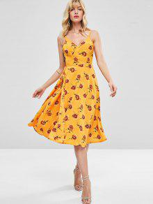 Abeja Amarilla S De Con Camisero Floral Estampado Vestido RP7qBaCa