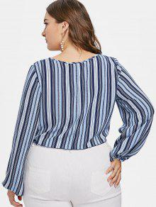 08e30be57c4 47% OFF  2019 Front Knot Plus Size Striped Blouse In MULTI 1X