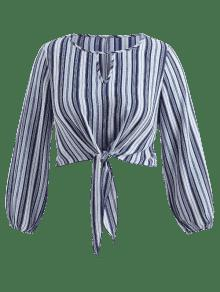 ce312d293bf 2019 Front Knot Plus Size Striped Blouse In MULTI 3X
