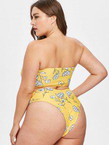 De De 1x Bikini Con Floral Estampado Conjunto Talle Alto Amarillo Brillante wEFqX5v