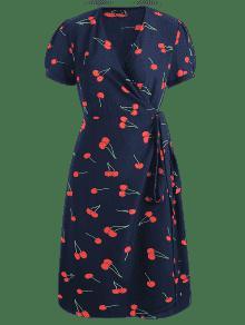 Vestido Cerezas Estampado A Azul Con De Media S Pierna De Medianoche rxP1q6rH