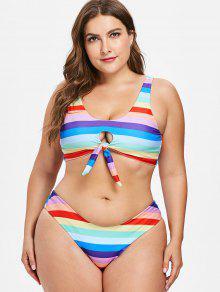 a2ed34b346522 31% OFF] 2019 Plus Size Colored Stripes Keyhole Bikini Set In MULTI ...